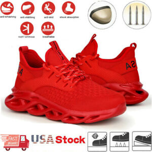 Womens Red Work Safety Shoes Steel Toe Lightweight Boots Indestructible Sneakers