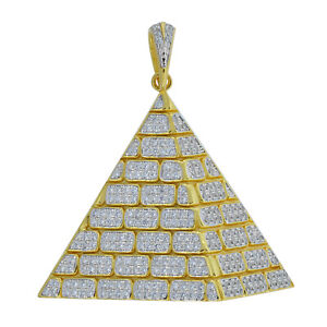 Yellow-tone 925 Sterling Silver Mens Round Cubic Zirconia CZ Pyramid Cluster Fas