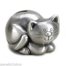 Kitty Money Cat Piggy Bank, Non Tarnish Pewter Finish