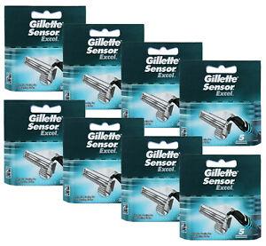 40 Gillette Sensor Excel Rasierklingen Ecxel Klingen 40 Stück in 8x 5er OVP