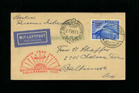 Zeppelin Sieger 119F 1931 Polar Flight Germany Post to Malyguin with 2RM to USA