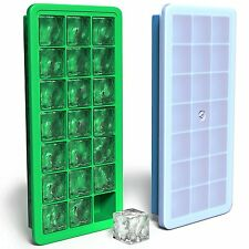 Vremi Silicone Covered Ice Cube Tray Set Flexible Rubber Plastic w/ Lids 2 Piece