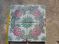 PANNELLO 4 RIGGIOLE IN MAIOLICA DECORO FLOREALE SICILIA XIX secolo