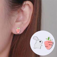 Cute Metal Rabbit Carrot Fashion Jewelry Ear Stud Women Gift Stud Earring