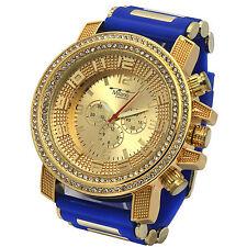 Mens Gold Tone Iced Hip Hop Fashion Blue Silicon Quartz Wrist Watches milano