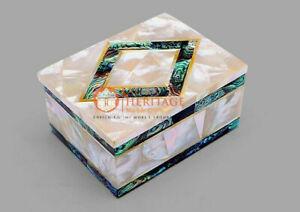 Real Mop Stone Art Jewelry Trinket Box Pauashell Inlaid Art Housewarming Gifts