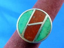 Sterling Silver Red Coral & Turquoise Ring Size 7.5 Nice! 925