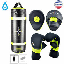MaxxMMA Water/Air Neon 3 ft. Punching Bag MMA Dummy + Neon Bag Gloves & Mitts
