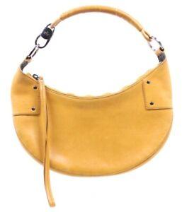 GUCCI Golden Yellow Leather Small HALF MOON Zip Hobo Shoulder Bag