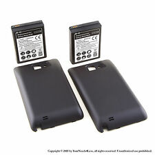 2 x 5000mAh Extended Battery for Galaxy Note GT-N7000 Black Cover