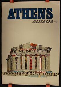 "1960s ORIGINAL VINTAGE TRAVEL POSTER ""ATHENS - ALITALIA"""