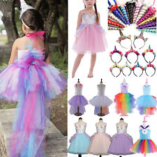 Kids Girls Unicorn Bridesmaid Pageant Party Tutu Dress Cosplay Costume Dress Lot