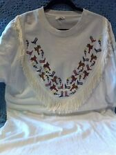 """NOS HANDMADE CUSTOM WHITE WITH BOOTS AND TASSELS """"NASHVILLE"""" T-SHIRT SIZE XL"""