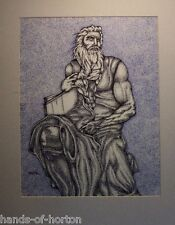 MOSES: tribute to Michelangelo drawing. classical style art illustration.