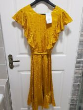 Size 12 Warehouse jacquard ochre dress