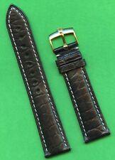 GENUINE ROLEX GOLD BUCKLE & BLACK GEN. ALLIGATOR STRAP BAND 20mm LEATHER LINED
