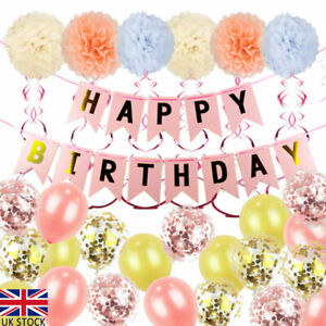 Children Adult Happy Birthday Parties Decorations Banner Bunting Balloons Decor