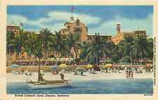 NASSAU BAHAMAS BRITISH COLONIAL HOTEL BEACH SCENE LINEN 1952 POSTCARD