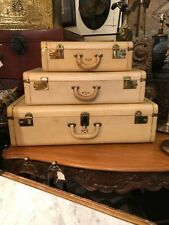 Rare vintage vellum luggage set of 3  cases mint Winship Boston