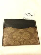 Coach 100% Tan/Black Antique Nickel Slim Card Case In Signature Canvas F58110