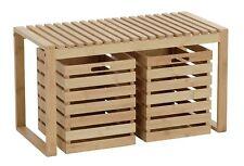 Bank mit Stauraum Sitzbank Holzbank Bambus Holz Bambusbank Flurbank 80x40x45 cm