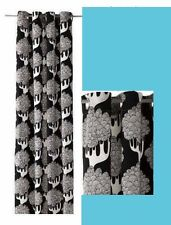 IKEA Kajsamia BLACK White Tree Botanical Curtain Panel Grommet Heavy Canvas NEW