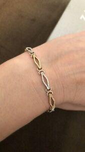 Zales Diamond Open Link Bracelet in 10K Tri-Tone Gold