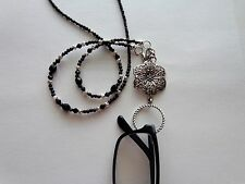 BLACK HANDMADE EYEGLASS SUN GLASS READERS HOLDER NECKLACE CHAIN WITH LOOP RING