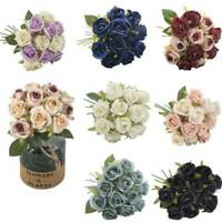 12 Heads Silk Rose Artificial Flowers Bunch in vase Bouquet Wedding Home Party