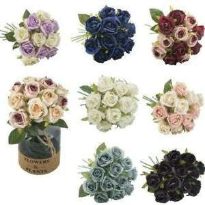 12 Head Artificial Rose Bouquet Silk Fake Flowers Leaf Wedding Party Home Decor