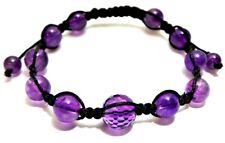 10.17g Purple Amethyst Gemstones Spheres W/Swarovski Crystals Shamballa Bracelet