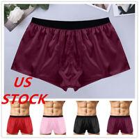 US Men Sleepwear Satin Silk Underwear Boxer Briefs Shorts Pants Pajama Nightwear