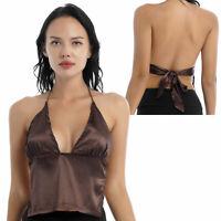Women Summer Halter Bandage Camisole Club V Neck Sleeveless Backless Vest Tops