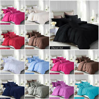 Brushed Fabric Duvet Cover Bedding Set with Pillowcase Single Double & King Size