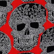SKULLS OUT Red DAY OF DEAD Skull FQ Calaveras MEXICAN FOLK ART Art Skull PAISLEY