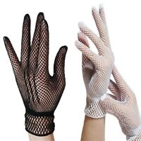 Gothic Fashion Ladies Mesh Fishnet Short Full-Finger LACE GLOVES Black White Red