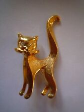 pin, height 5 cms. New Cat brooch, gold coloured, safety