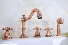 Antique Red Copper Roman Bath Tub Faucet Mixer Tap With Hand Spray Shower Ztf222