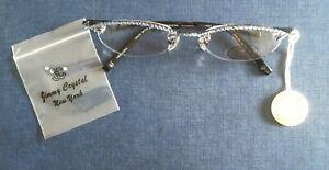 JIMMY CRYSTAL Blue New York Reading Glasses + 1.00 Swarovski GL666 Frame: CO3