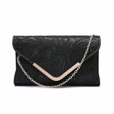 a9dd1bd615f4 Ladies Party Clutch Bag Club Luxury Evening Prom Hard Case Gold Chain Strap  E Lace -
