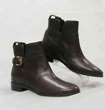 MICHAEL MICHAEL KORS Womens Brown Ankle Boots With Gold Buckle, Size 6