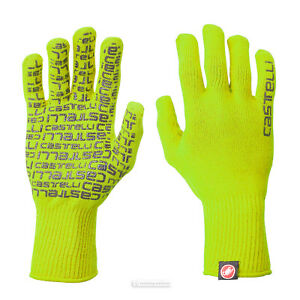 Castelli CORRIDORE Full Finger Knit Cycling Gloves : YELLOW FLUO