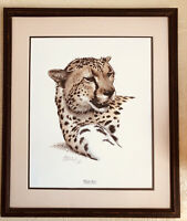 Guy Coheleach Cheetah Head Lithograph Print Signed 1980 Big Cat PRINT ONLY