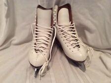 REIDELL WHITE LEATHER ICE SKATES MODEL 320 WOMEN'S SZ 5.5 MED AT WILSON BLADES