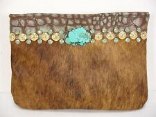 NEW KURTMEN DESIGN WESTREN COWHIDE LEATHER TURQUOISE SWAROVSKI CRYSTALS CLUTCH