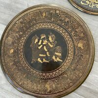 Vintage Egyptian Travel Engraved Etched Brass Copper Plate Wall Hanging 6 Pieces