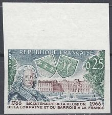 LORRAINE CHÂTEAU DE LUNÉVILLE N°1483 TIMBRE NON DENTELÉ IMPERF 1966 NEUF ** MNH