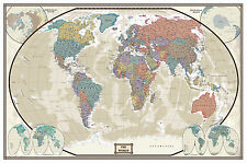 30x43 World Modern Day Antique Wall Map -Framed Edition