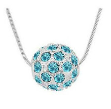 Shamballa Style Silver & Ocean Blue Crystal Disco Ball Pendant Necklace N132