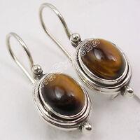 "925 Sterling Silver Genuine TIGER'S EYE SEMI PRECIOUS GEMSTONE Earrings 1"""